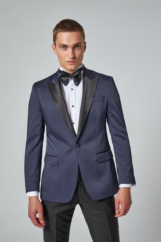 Ds Damat Slim Fit Lacivert Armürlü Smokin Takım Elbise - 8682445244120 | D'S Damat