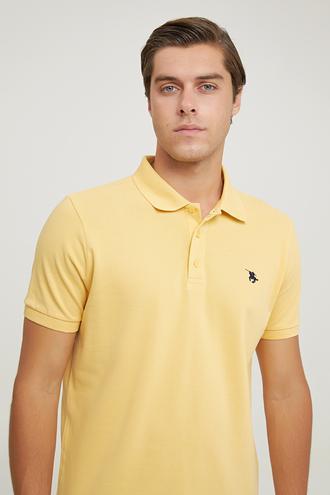 Ds Damat Regular Fit Açık Sarı Pike Dokulu T-shirt - 6725695038162 | D'S Damat