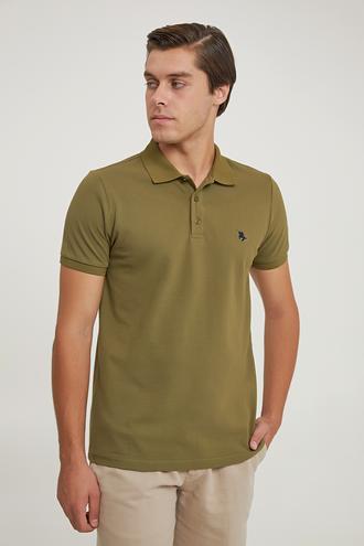 Ds Damat Regular Fit Haki Pike Dokulu T-shirt - 6725695038353 | D'S Damat