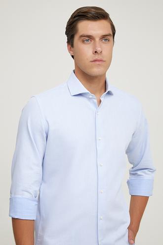 Ds Damat Slim Fit Mavi Armürlü Gömlek - 8682445003529 | D'S Damat