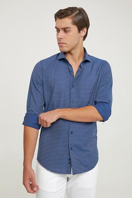 Ds Damat Slim Fit Lacivert Baskılı Gömlek - 6725695039152 | D'S Damat