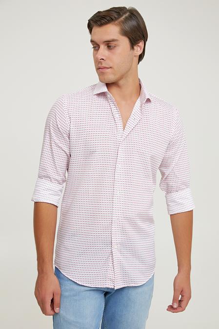 Ds Damat Slim Fit Beyaz Baskılı Gömlek - 6725695039411 | D'S Damat