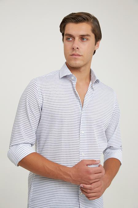 Ds Damat Slim Fit Beyaz Baskılı Gömlek - 6725695039466 | D'S Damat