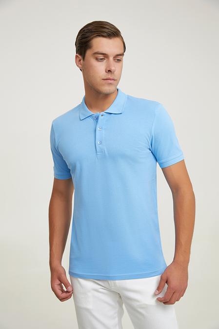 Ds Damat Regular Fit Mavi Pike Dokulu T-shirt - 8682445204407   D'S Damat