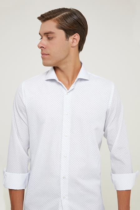 Ds Damat Slim Fit Beyaz Baskılı Gömlek - 6725695039756 | D'S Damat