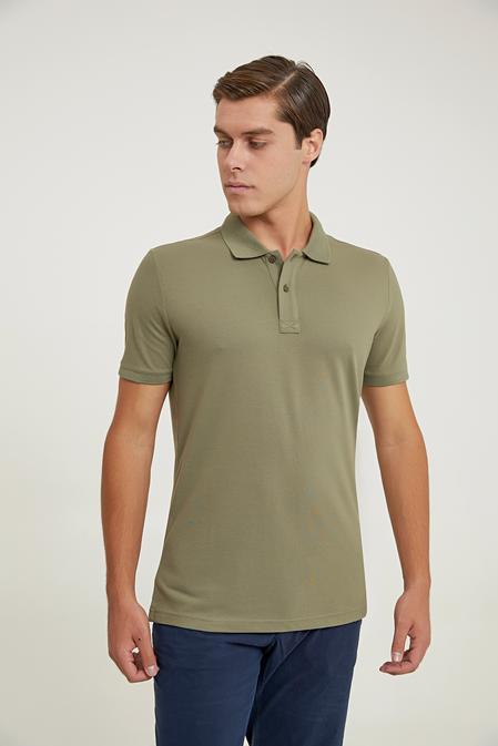 Ds Damat Regular Fit Haki Pike Dokulu T-shirt - 6725695038353   D'S Damat
