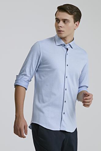 Ds Damat Slim Fit Mavi Örme Gömlek - 8682445516395 | D'S Damat