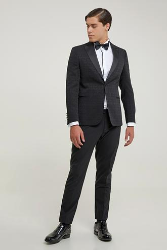 Tween Slim Fit Slim Fit Siyah Desenli Takım Elbıse - 8681649370369 | Damat Tween