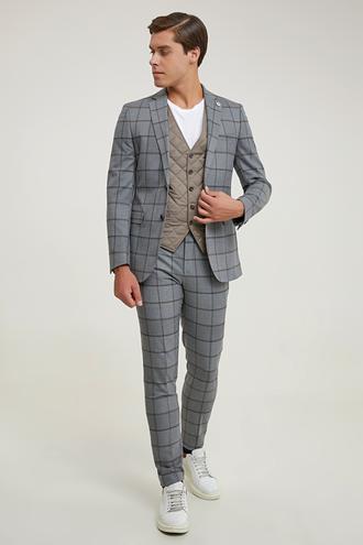 Tween Slim Fit Gri Yelekli Takım Elbise - 8681649891727 | Damat Tween