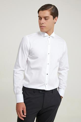 Ds Damat Slim Fit Beyaz Armürlü Smokin Gömlek - 8682445079593 | D'S Damat