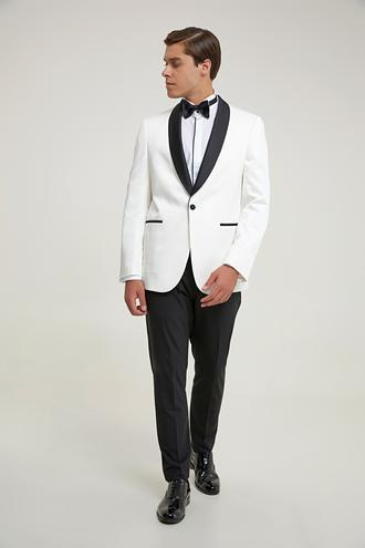 Tween Slim Fit Beyaz Smokin Takım - 8682364898497 | Damat Tween
