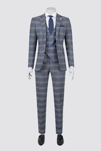 Tween Slim Fit Mavi Kareli Yelekli Takım Elbise - 8681649257943 | Damat Tween