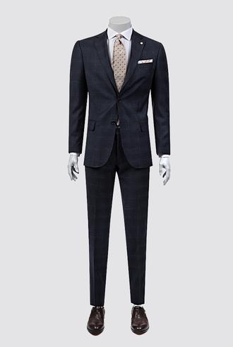 Damat Regular Fit Lacivert Desenli Takım Elbise - 8681142805634 | Damat Tween