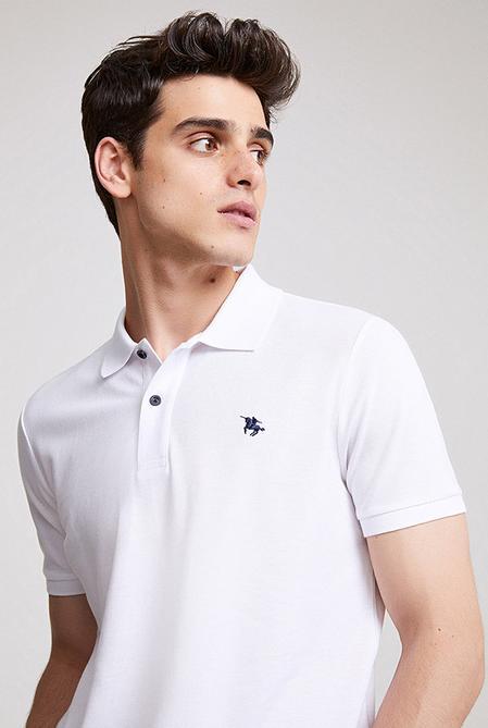 Ds Damat Regular Fit Beyaz Pike Dokulu T-shirt - 8682060907455   D'S Damat