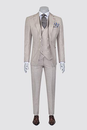 Ds Damat Slim Fit Bej Ekoseli Kombinli Takım Elbise - 8681779336921   D'S Damat