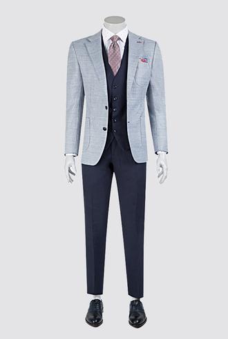 Ds Damat Slim Fit Mavi Dokulu Kombinli Takım Elbise - 8681779322856   D'S Damat