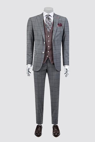 Ds Damat Regular Fit Gri Kareli Kombinli Takım Elbise - 8681779336600   D'S Damat