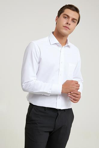 Ds Damat Regular Fit Beyaz Düz Gömlek - 8682445214628 | D'S Damat
