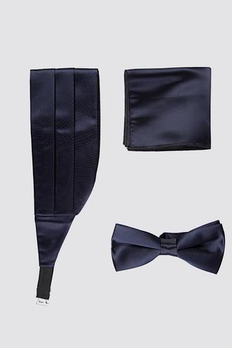 Damat Lacivert Düz Kusak-papyon-mendil Set - 8682364635207   Damat Tween