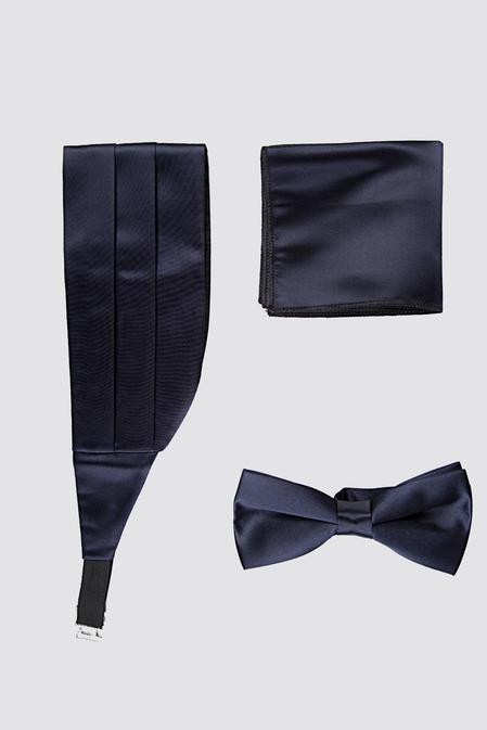 Damat Lacivert Düz Kusak-papyon-mendil Set - 8682364635207 | Damat Tween