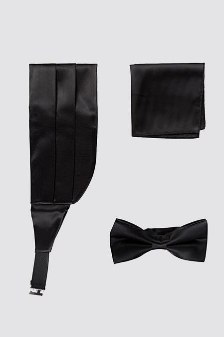 Damat Siyah Düz Kusak-papyon-mendil Set - 8682364635191 | Damat Tween