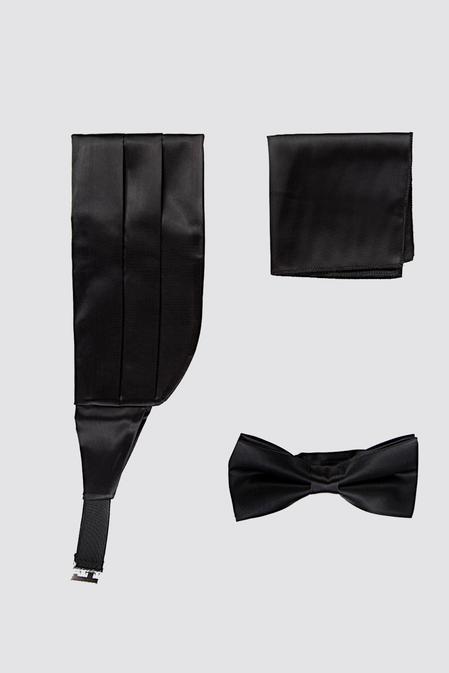 Damat Siyah Düz Kusak-papyon-mendil Set - 8682364948130 | Damat Tween