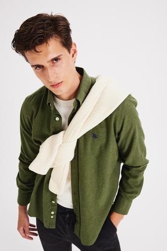 Ds Damat Slim Fit Yeşil Armürlü Gömlek - 8682445465051   D'S Damat