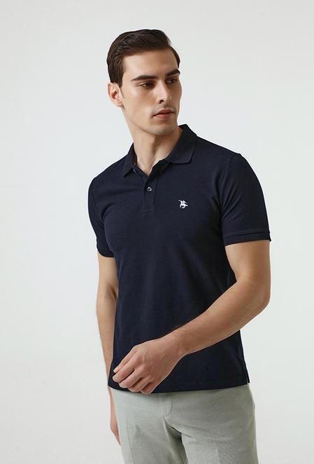 Ds Damat Regular Fit Lacivert Pike Dokulu T-shirt - 8682060907158   D'S Damat