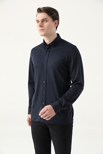 Tween Slim Fit Lacivert Örme Gömlek - 8682364901418 | Damat Tween