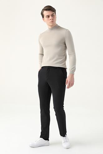 Tween Slim Fit Siyah Örme Chino Pantolon - 8682364723317 | Damat Tween