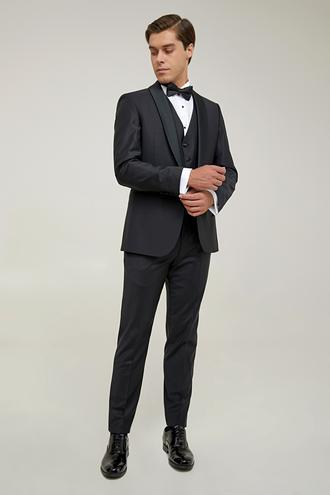 Damat Slim Fit Siyah Yelekli Takım Elbise - 8682364967322 | Damat Tween