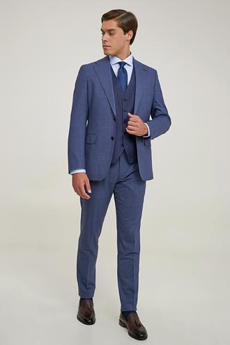 Damat Slim Fit Lacivert Kaz Ayağı Yelekli Takım Elbise - 8682364832156 | Damat Tween