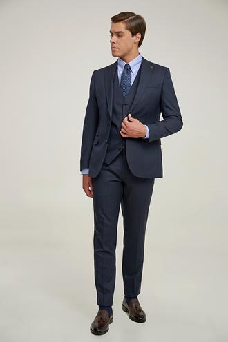 Damat Slim Fit Lacivert Yelekli Takım Elbise - 8682364832057 | Damat Tween
