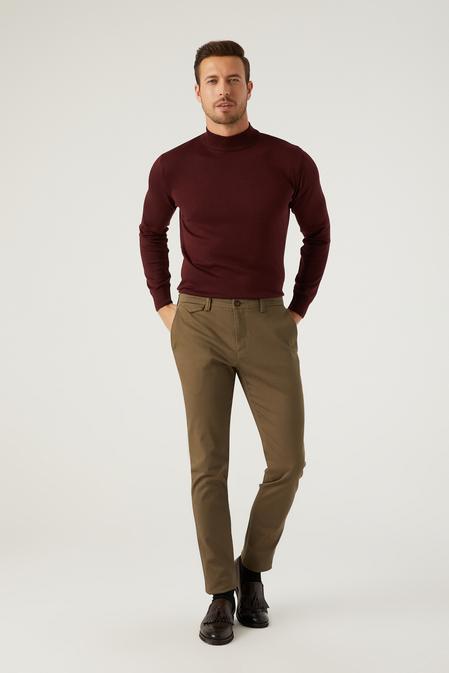 Twn Slim Fit Yeşil Armürlü Chino Pantolon - 8682445205787 | D'S Damat