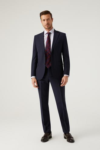 Ds Damat Slim Fit Lacivert Düz Travel Takım Elbise - 8682445460810 | D'S Damat