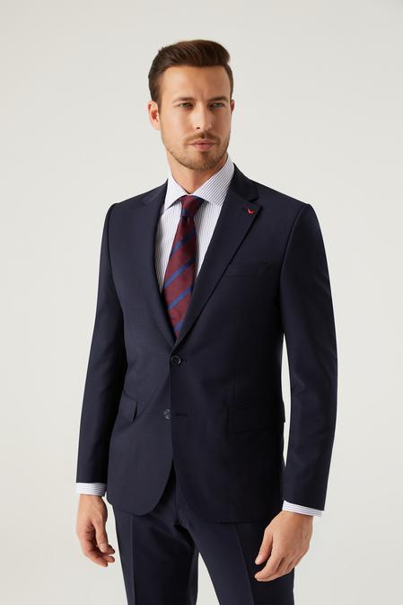 Ds Damat Slim Fit Lacivert Düz Travel Takım Elbise - 8681779985143   D'S Damat