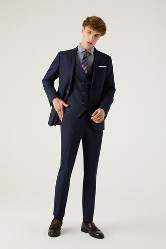 Twn Slim Fit Lacivert Düz Yelekli Takım Elbise - 8682445215199 | D'S Damat