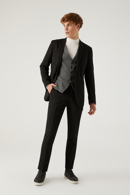 Twn Slim Fit Siyah Armürlü Kombinli Takım Elbise - 8682445183016   D'S Damat