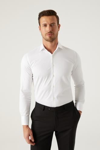 Ds Damat Slim Fit Beyaz Düz Gömlek - 8682445211146   D'S Damat