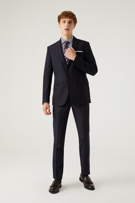 Twn Slim Fit Lacivert Armürlü Takım Elbise - 8682445509830   D'S Damat