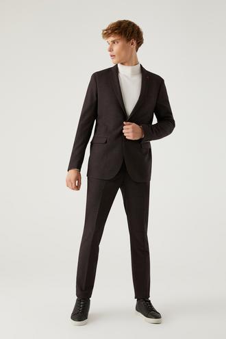 Twn Slim Fit Bordo Armürlü Takım Elbise - 8682445512625 | D'S Damat