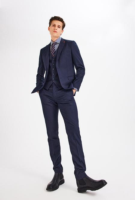 Twn Slim Fit Lacivert Çizgili Yelekli Takım Elbise - 8682445511055   D'S Damat