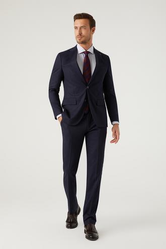 Ds Damat Slim Fit Lacivert Armürlü Takım Elbise - 8682445541007 | D'S Damat