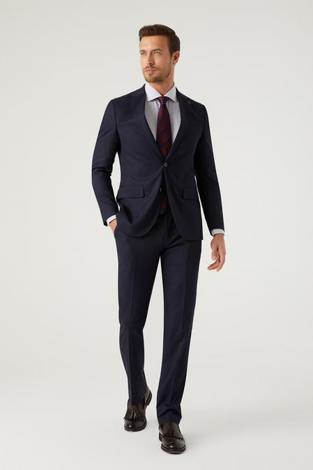 Ds Damat Slim Fit Lacivert Armürlü Takım Elbise - 8682445541007   D'S Damat
