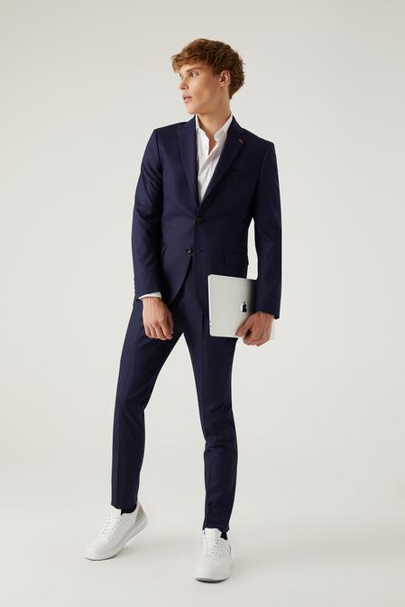 Twn Slim Fit Lacivert Çizgili Takım Elbise - 8682445541243   D'S Damat