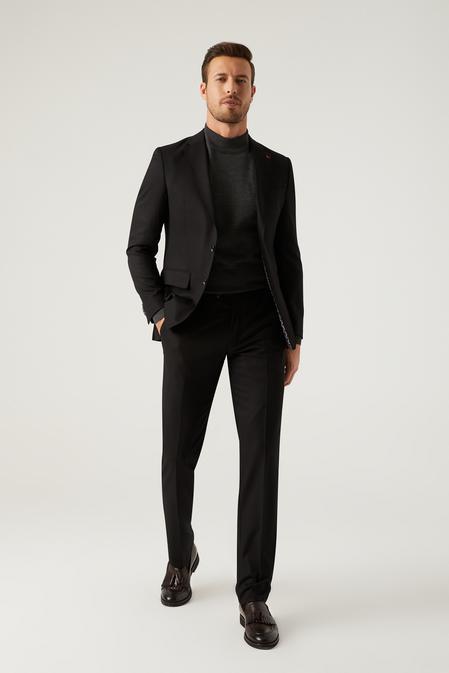 Ds Damat Slim Fit Siyah Armürlü Takım Elbise - 8682445597790   D'S Damat