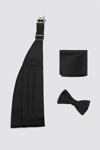 Damat Siyah Düz Kusak-papyon Set - 8682364969609 | Damat Tween