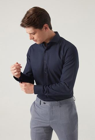 Ds Damat Slim Fit Lacivert Gömlek - 8681779951513 | D'S Damat