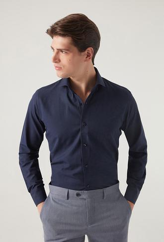 Ds Damat Slim Fit Lacivert Gömlek - 8681779951728 | D'S Damat