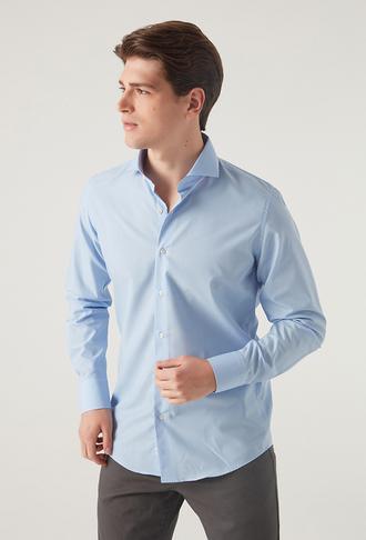 Ds Damat Slim Fit Ocean Blue Gömlek - 8682060771490 | D'S Damat